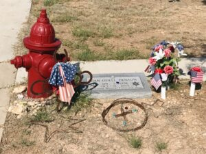Fire hydrant as grave goods. (photo (c) Tui Snider)