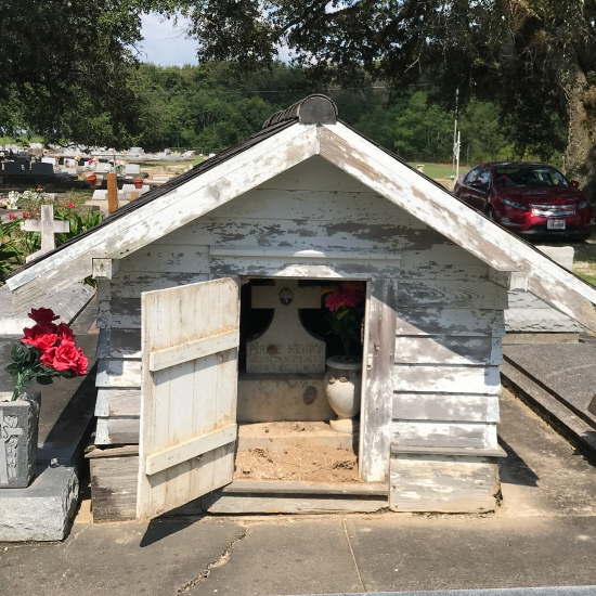 The unique grave houses in Louisiana's Istre Cemetery are on the National Regist of Historic Places. Photo (c) Tui Snider