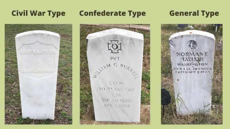 US military grave markers: side-by-side comparison. (c) Tui Snider