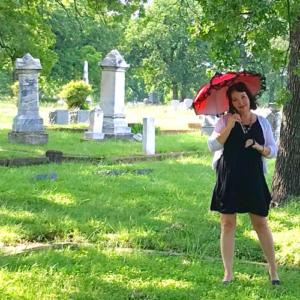 Tui Snider exploring a historic Texas cemetery.